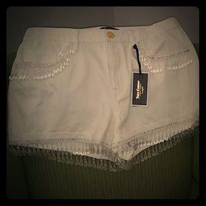 Juicy Couture Black Label white fringe Shorts